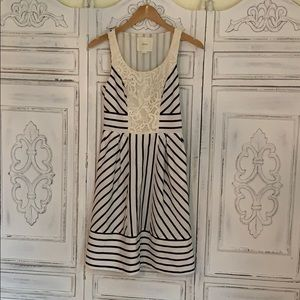Navy and Ivory Striped  Midi Dress Size xs